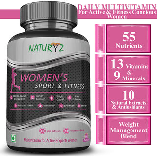 Naturyz Womens Fitness Daily Multivitamin for Active women with 55 Vital Nutrients, 12 Performance Blends- 60 Tablets