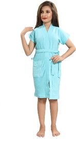 Be You Kids Cotton Solid Light Blue Bath Robe / Bath Gowns for Boys & Girls [XXS (0-2 Yrs)]