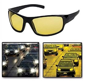 Adam Jones Yellow & Black Night Vision Free-size Full Rim Wrap-around Non-Metal Unisex Sunglasses