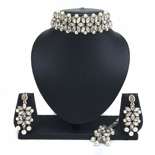 Shourya Exports CZ Pearl Designer 4 pc Choker Jewelry Set