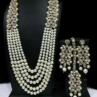 Shourya Exports Pearl CZ Designer Long 4 pc Jewelry Set