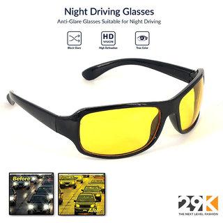 29K Yellow Black Night Vision Full Rim Wrap-around Non-Metal Unisex Sunglasses in Free Size