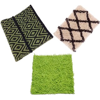 Dari With Mat Combo Cotton (16x24-inches , Multicolour ) Set of 3 Home Furnishing Buy Ny Stores