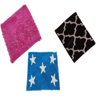 Bath Mat/Door mat Combo Cotton (16x24-inches , Multicolour ) Set of 3 Home Furnishing Buy Ny Stores
