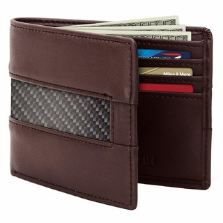 Tom Martin TM04 RFID Protected Vegan Leather Slim Bifold Wallet with 6 Cards Slots for Men (Tan Brown)