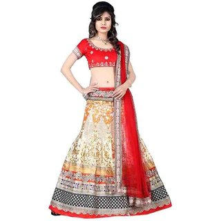 Bhagalpuri Cream and Red Color Semi Stitched Embroidred Partywear Lehengha By Rise On Fab (RFCREAMHETVI)