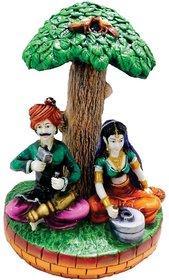 SAI SARTHAK ENTERPRISE RAJASTHANI COUPLE UNDER TREE MULTI-COLOUR HAND-PAINTING TABLE-TOP