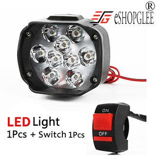 Bike / Motorcycle 9 LED Headlight Driving Fog Spot Light 1 PCS + Free (On / Off) Switch
