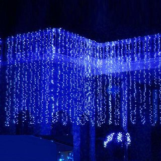 Xmas Christmas Waterfall Curtain Lights 3*3M 320LED Icicle String Light ColdWhit