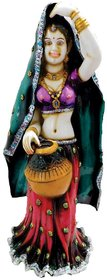STANDING RAJATHANI WOMAN WITH POT MULTI-COLOUR HAND-PAINTING TABLE-TOP