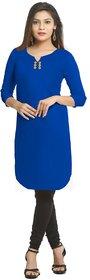 Grishti Solid Royal Blue Cotton Kurti for Women