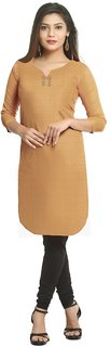 Grishti Solid Beige Cotton Kurti for Women