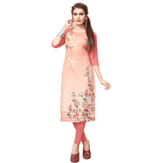 New Ethnic 4 You Women's Digital Print Stitched Crepe Straight Cut Kurti Multicolor