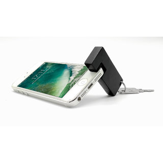 Keychain with Mobile Phone Stand / Holder For Smartphone (Black)