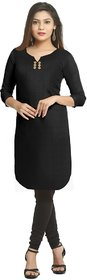 Grishti Solid Black Cotton Kurti for Women