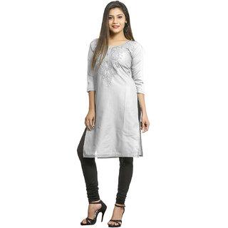 Grishti White Cotton Side Slit Embroidered Kurti for Women