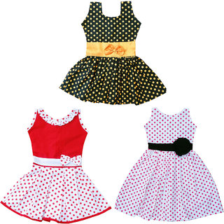 Flora's Self Design Cotton Frocks For Girls ( Combi pack of 3)