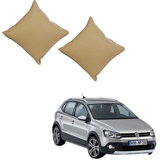 Auto Addict Beige Leatherite Car Pillow Cushion Kit (Set of 2Pcs) For Volkswagen Polo Cross