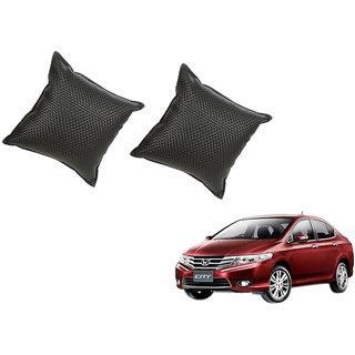 Auto Addict Black Leatherite Car Pillow Cushion Kit (Set of 2Pcs) For Honda City Ivtec(2010-2014)