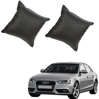 Auto Addict Black Leatherite Car Pillow Cushion Kit (Set of 2Pcs) For Audi A4