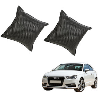 Auto Addict Black Leatherite Car Pillow Cushion Kit (Set of 2Pcs) For Audi A3