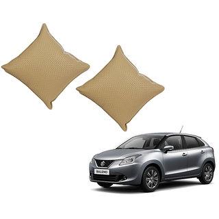 Auto Addict Beige Leatherite Car Pillow Cushion Kit (Set of 2Pcs) For Maruti Suzuki Baleno Nexa