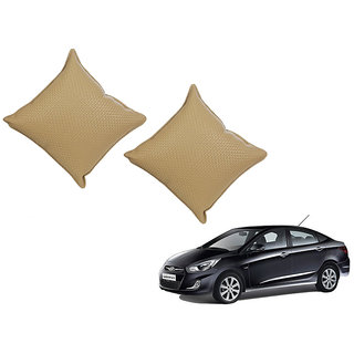 Auto Addict Beige Leatherite Car Pillow Cushion Kit (Set of 2Pcs) For Hyundai Verna Fluidic