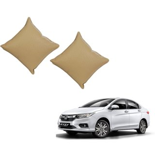 Auto Addict Beige Leatherite Car Pillow Cushion Kit (Set of 2Pcs) For Honda New City 2017