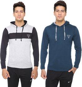 DFH Men's Cotton Blend Plain Hooded T-Shirt (Pack Of 2)