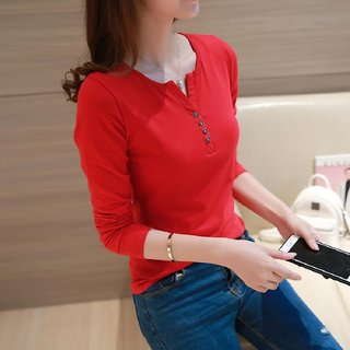 Women Full Sleeve V-Neck Plain Cotton Henley T shirt by Vivient