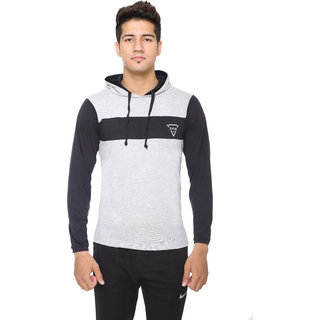 Men's Grey Poly Cotton Hooded T-Shirt