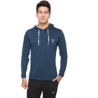 Men's Blue Poly Cotton Hooded T-Shirt