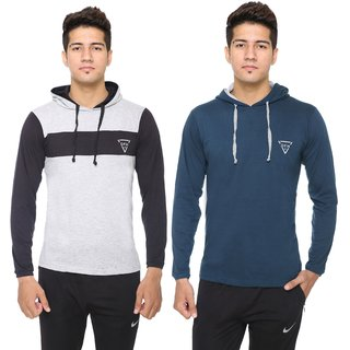 DFH Men's Cotton Blend Plain Hooded T-Shirt (Pack Of 2) NR