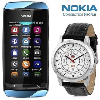 Nokia Asha 305 (1 year Warranty Bazaar Warranty) with Watch