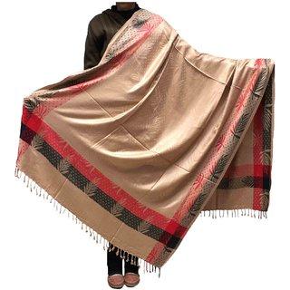 Varun Cloth House Womens Woollen Embellished Border Shawl (vch5444, Beige, Free Size)