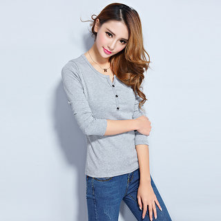 Vivient Women Grey Plain Three Button Full Sleeve Tee
