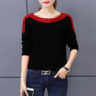 Code Yellow Women's Plain Black Red Shoulder Tee