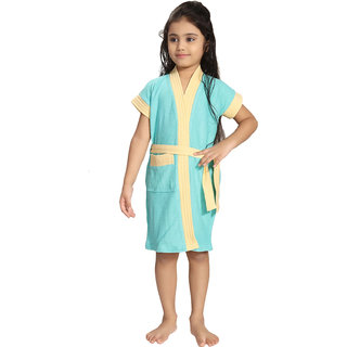 Be You Kids Cotton Two-Tone Light Blue Bathrobe / Bath Gown for Girls & Boys [XL (14-16 Yrs)]