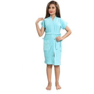 Be You Kids Cotton Solid Light Blue Bath Robe / Bath Gowns for Boys & Girls [M (8-10 Yrs)]