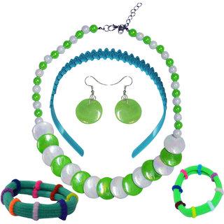 Angel Glitter Green Color Fancy Jewellery Combo For Kids