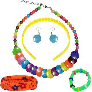 Angel Glitter Multicolor Fancy Jewellery Combo For Kids