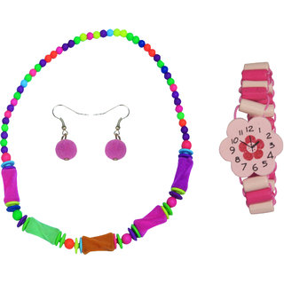Angel Glitter Pink Flower Watch Like Bracelet Combo Of Watch Like Bracelet and Necklace Set For Kids