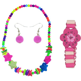 Angel Glitter White Flower Watch Like Bracelet Combo Of Watch Like Bracelet and Necklace Set For Kids