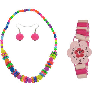 Angel Glitter Baby Pink Flower Watch Like Bracelet Combo Of Watch Like Bracelet and Necklace Set For Kids