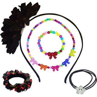 Angel Glitter The Pretty Ribbon Bow With Big Flower Jewellery Set For Kids
