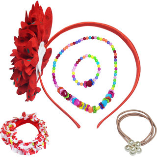 Angel Glitter The Pretty Hearts With Big Flower Jewellery Set For Kids