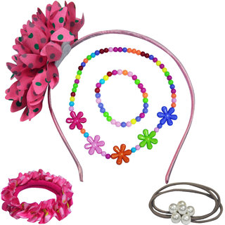 Angel Glitter The Pretty Flowers With Big Flower Jewellery Set For Kids