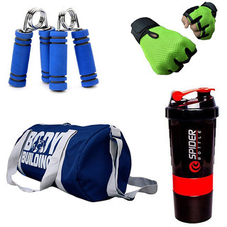 Combo Of BodyBuilding (Blue) Gym Bag, Gloves (Green), Spider Shaker (Red) And Hand Gripper (Blue)
