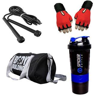Combo Of BodyBuilding (Black) Gym Bag, Gloves (Red), Spider Shaker (Blue) And Skipping Rope (Black)