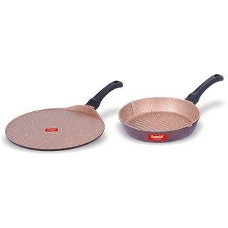 Sumeet Nonstick Granite Finish EXIGO set (Tawa 30.5cm Dia + Round Grill Pan 25.5cm Dia )
